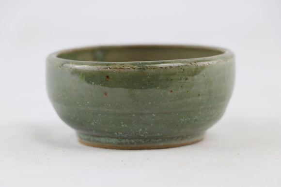 Ross Adams Green Glazed Round Bonsai Pot - 3.25