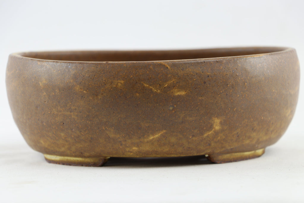 "Ross Adams Brown Glazed Oval Bonsai Pot - 7.5"" x 6.75"" x 2.75"""