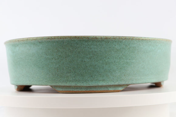 Ross Adams Teal Glazed Oval Bonsai Pot - 13