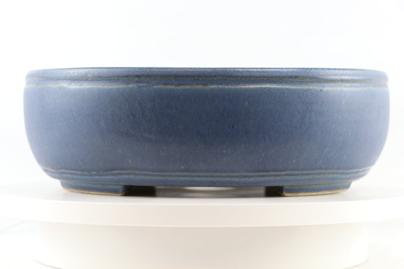 Ross Adams Blue Glazed Oval Bonsai Pot - 13.25