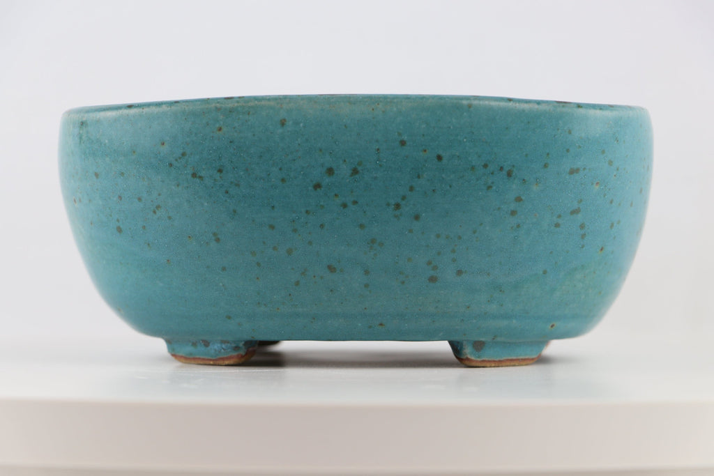 "Ross Adams Teal Blue Glazed Rounded Rectangle Bonsai Pot - 7.25"" x 6.25"" x 3"""