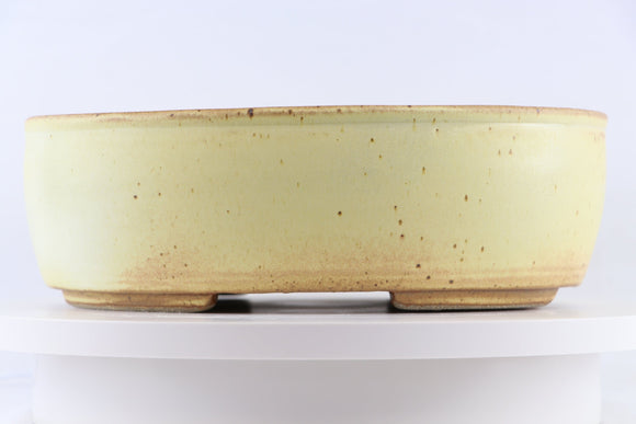 Ross Adams Cream Glazed Oval Bonsai Pot - 12.75