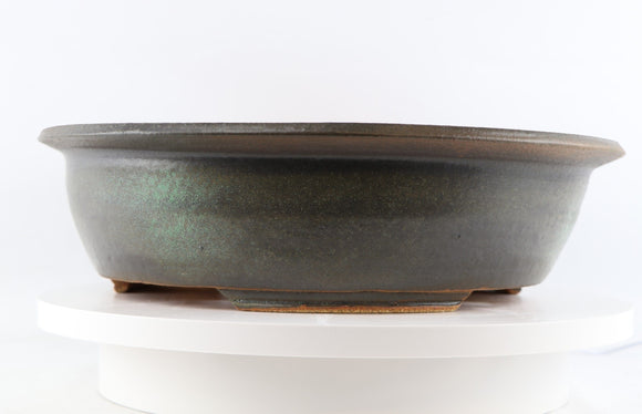 Ross Adams Dark Green Glazed Round Bonsai Pot - 15.25
