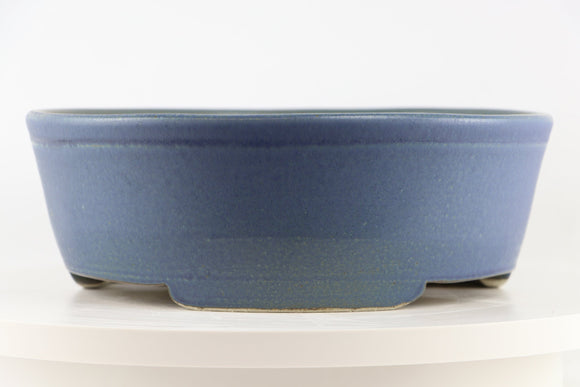 Ross Adams Blue Glazed Round Bonsai Pot - 11.25