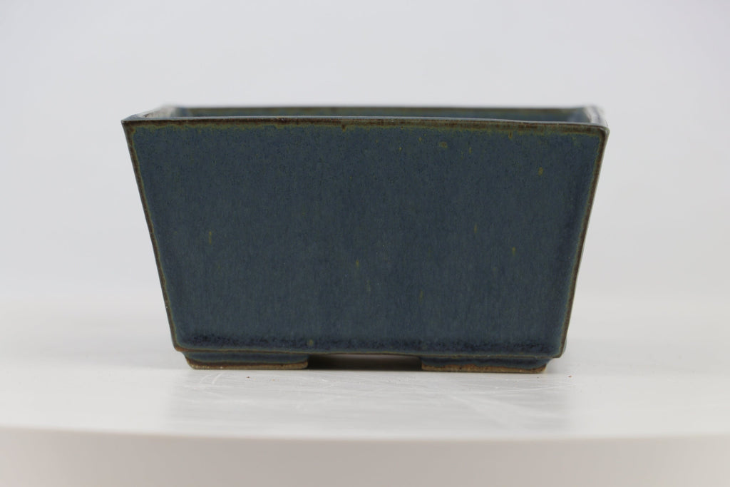 "Ross Adams Blue Glazed Square Bonsai Pot - 4.75"" x 2.75"""