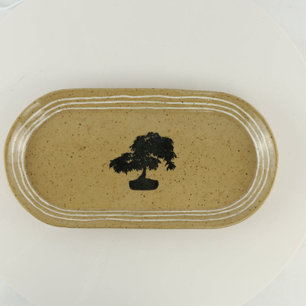 "Jodi Fox Tan Oval Bonsai Sushi Serving Tray - 14"" x 5.5"" x 2.75"""