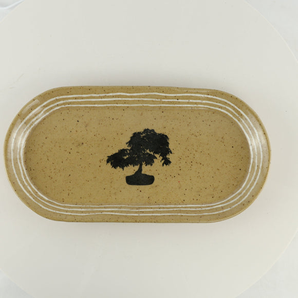 Jodi Fox Tan Oval Bonsai Sushi Serving Tray - 14