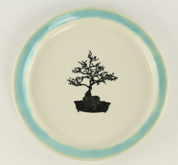 Jodi Fox White and Blue Round Bonsai Sushi Plate - 8
