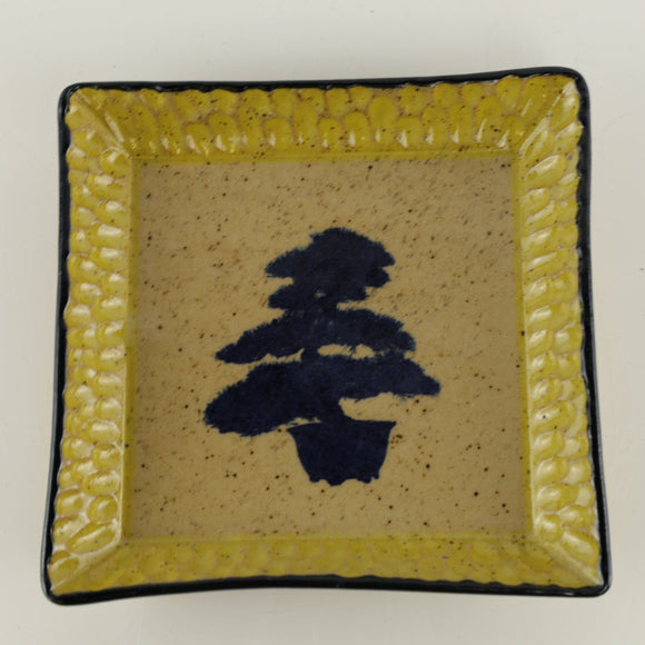 Jodi Fox Tan and Navy Blue Square Bonsai Sushi Plate - 5