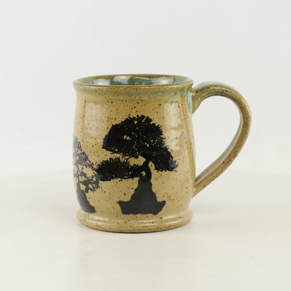 Jodi Fox Blue and Tan Bonsai Coffee Mug - 3.25