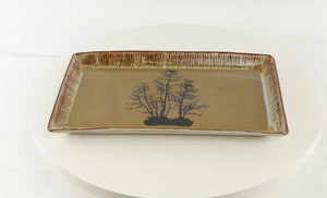 "Jodi Fox Brown Rectangle Bonsai Sushi Serving Tray - 11.5"" x 7"" x 1"""