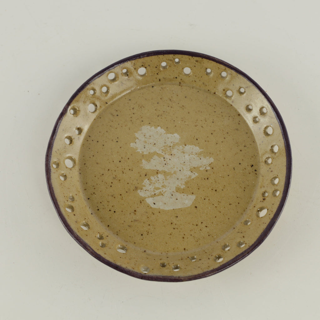 "Jodi Fox Light Brown Round Bonsai Sushi Plate - 5.75"" x 1"""