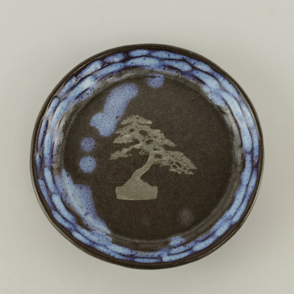 Jodi Fox Blue and Brown Round Bonsai Plate - 5.75