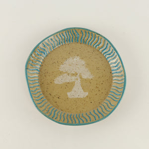 "Jodi Fox Light Blue and Brown Round Bonsai Sushi Plate - 6"" x 0.75"""