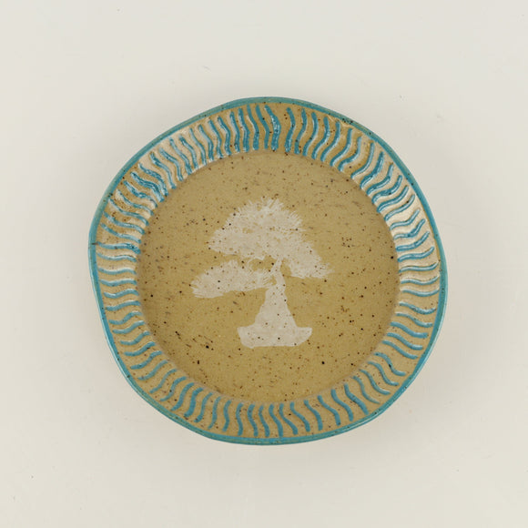 Jodi Fox Light Blue and Brown Round Bonsai Sushi Plate - 6