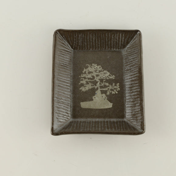 Jodi Fox Dark Brown Rectangle Bonsai Sushi Plate - 4.5