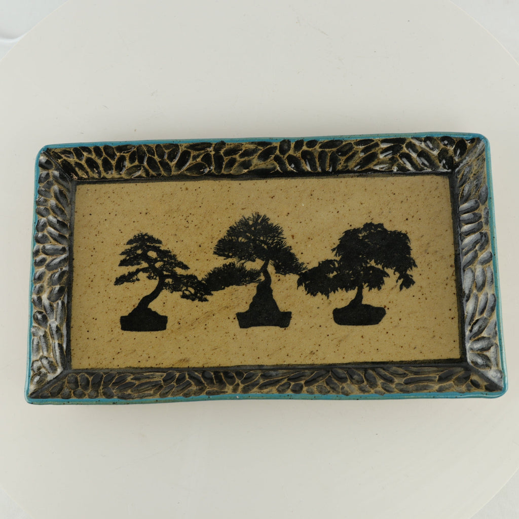 "Jodi Fox Blue and Light Brown Rectangle Bonsai Sushi Serving Tray - 10.25"" x 5.75"" x 1"""