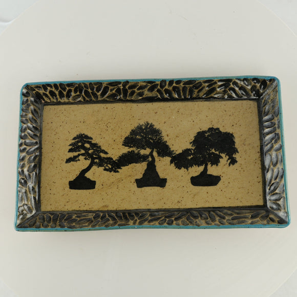 Jodi Fox Blue and Light Brown Rectangle Bonsai Sushi Serving Tray - 10.25