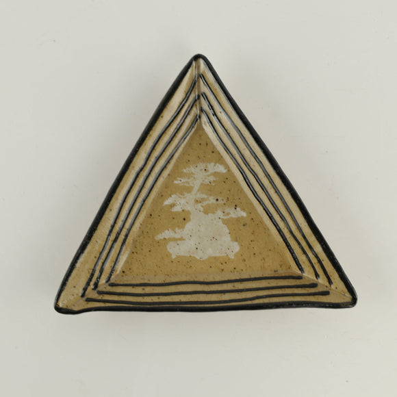 Jodi Fox Small Tan Triangle Bonsai Sushi Plate - 0.5