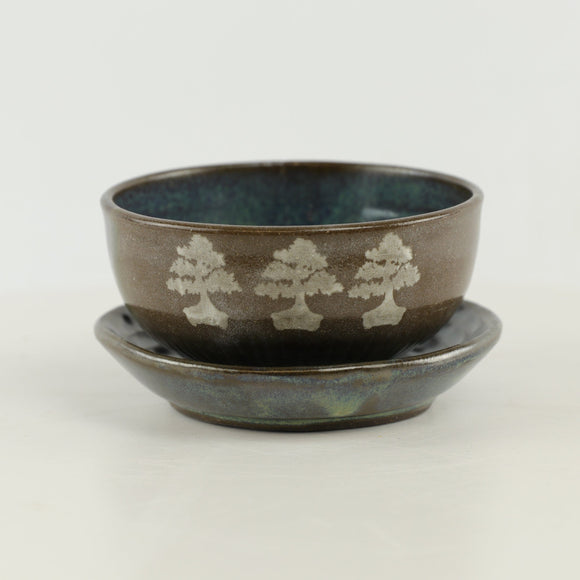 Jodi Fox Brown and Blue Bonsai Plate and Bowl 2 Piece - 4.5