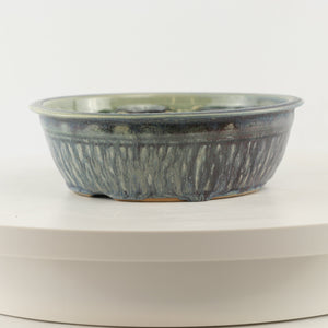 "Ed Dyke Blue Glazed Round Bonsai Pot - 7"" x 2.25"""