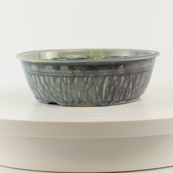 Ed Dyke Blue Glazed Round Bonsai Pot - 7