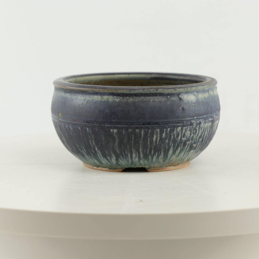 "Ed Dyke Blue Glazed Round Bonsai Pot - 5.25"" x 2.75"""