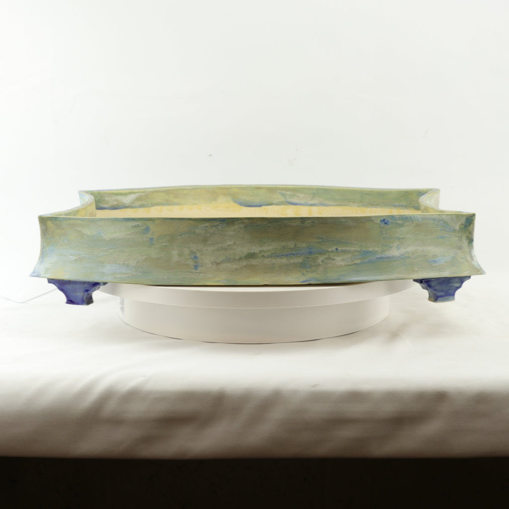 "Broken Branch Pottery Light Blue Glazed Rectangle Bonsai Pot - 18.5"" x 13.25"" x 3.75"""
