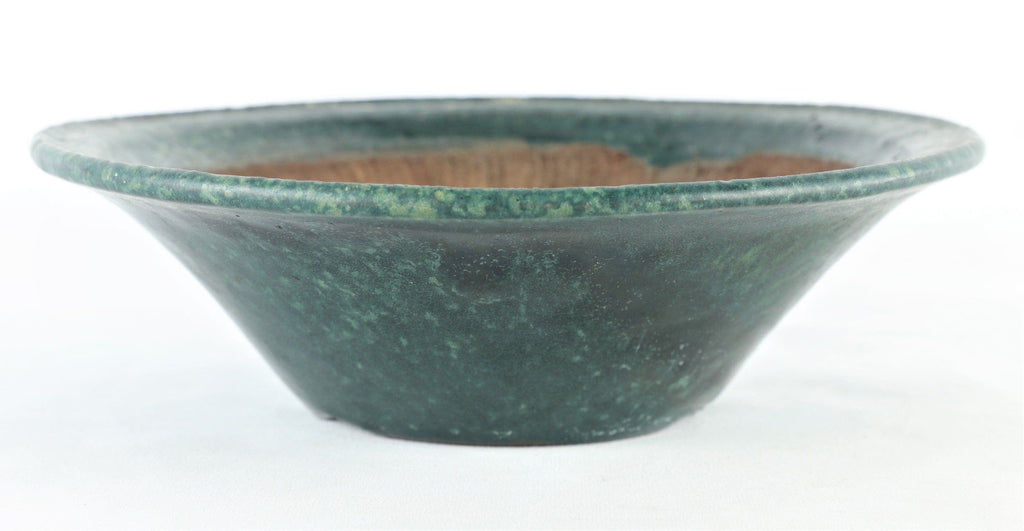 "Tokoname Shuho Dark Green Glazed Round Semi Cascade Bonsai Pot - 8.5"" x 2.5"""