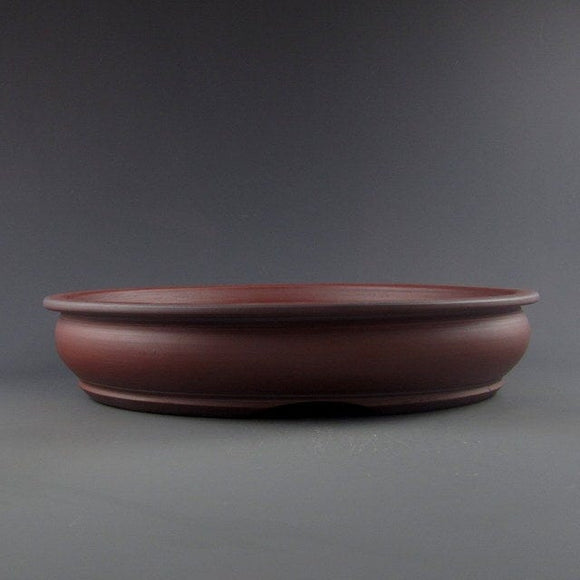 Lynn August Red Round Bonsai Pot - Unglazed - 9