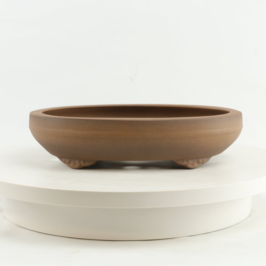 "Tokoname Mr. Matsushita Masuo Unglazed Brown Oval Bonsai Pot - 10.25"" x 8"" x 2.5"""