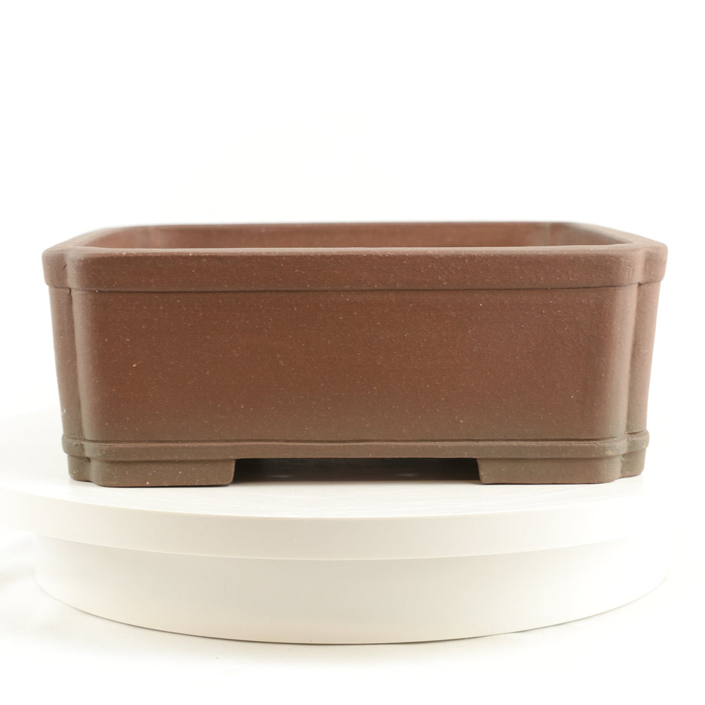 "Tokoname Mr. Saida Miyozuo Unglazed Brown Square Bonsai Pot - 11"" x 4"""
