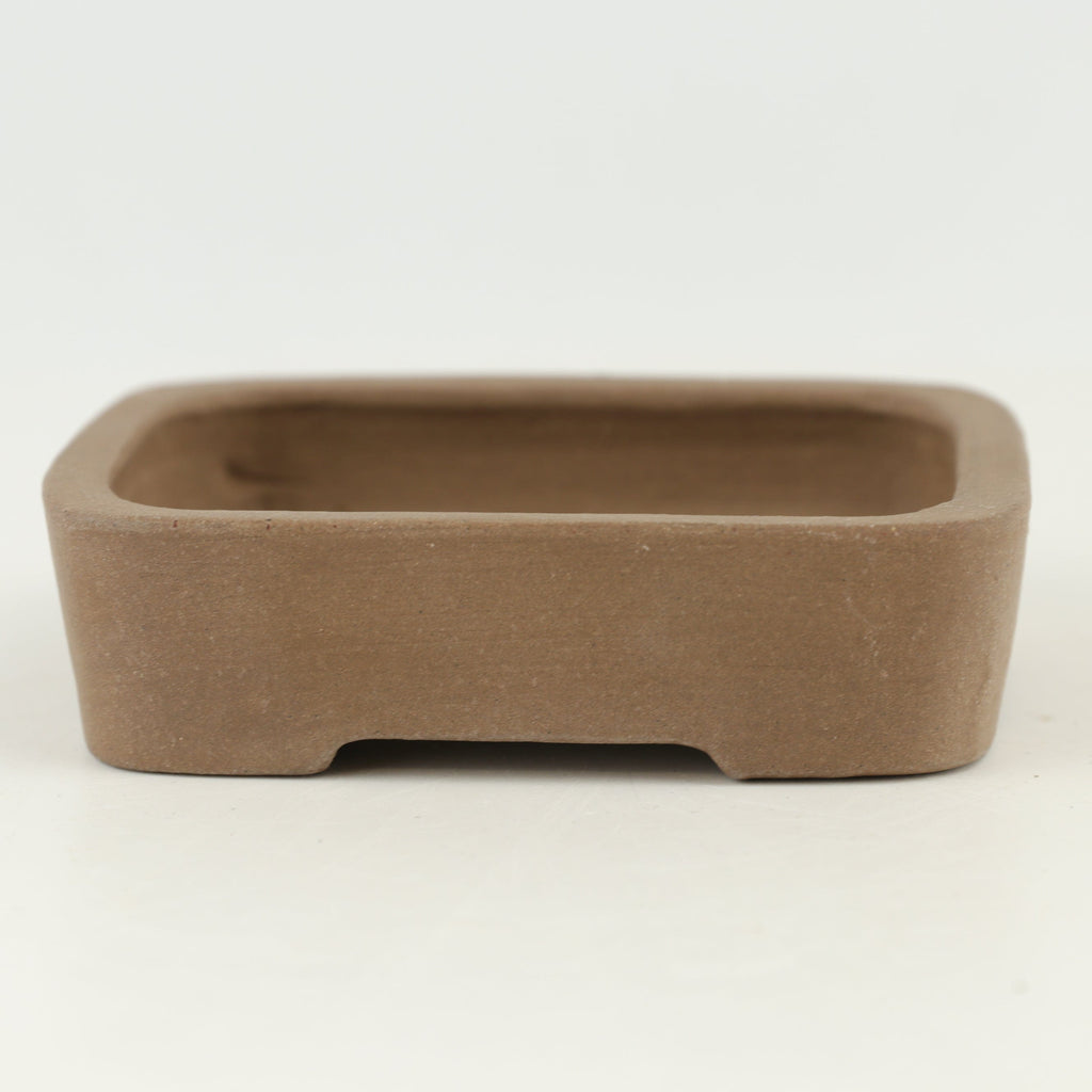 "Tokoname Mr. Matsushita Masuo Unglazed Brown Rounded Rectangle Bonsai Pot - 4.25"" x 3"" x 1"""