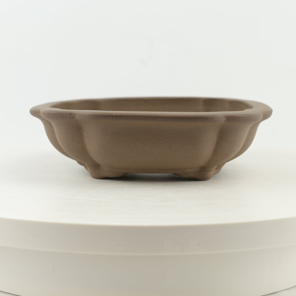"Tokoname Mr. Matsushita Masuo Unglazed Brown Bonsai Pot - 8.25"" x 2.25"""