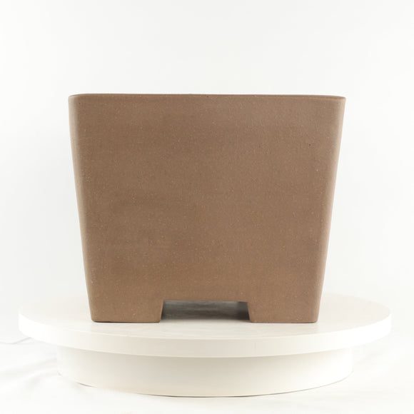 Tokoname Mr. Saida Miyozuo Unglazed Brown Square Bonsai Pot - 11
