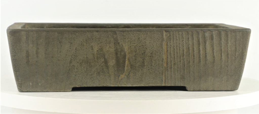 "Tokoname Yamaaki First Generation Unglazed Rectangle Bonsai Pot - 12.5"" x 8.5"" x 3.25"""