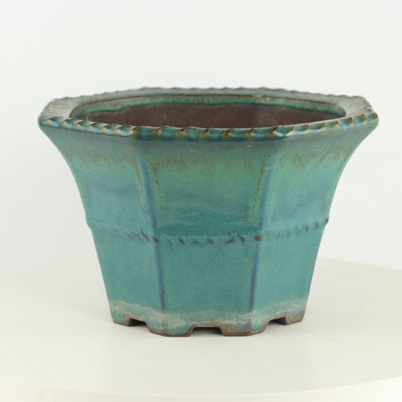 Tokoname Yamaaki Teal Glazed Cascade Bonsai Pot - 9
