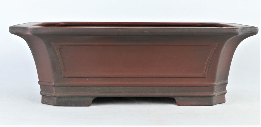 "Tokoname Bigei Glazed Indented Rectangle Bonsai Pot - 12"" x 9.5"" x 4"""