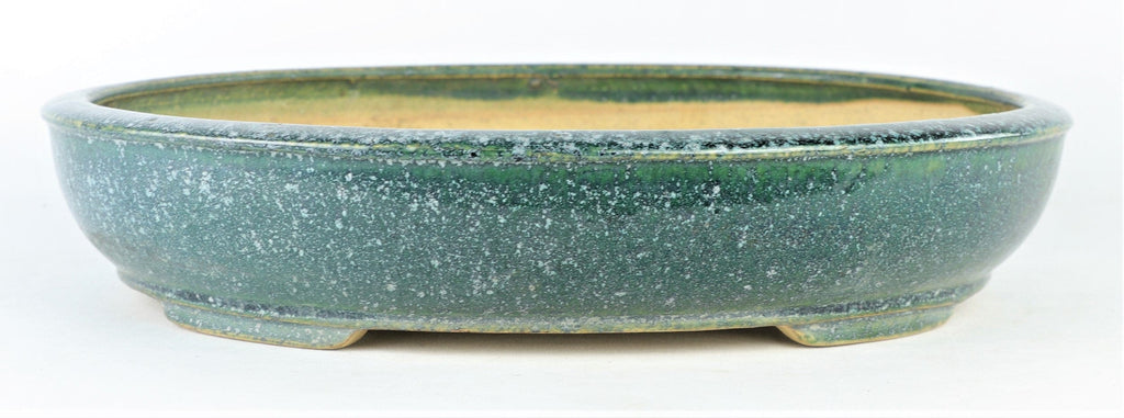 "Tokoname Shuho Green Speckle Glazed Oval Bonsai Pot - 13.25"" x 11"" x 2.75"""