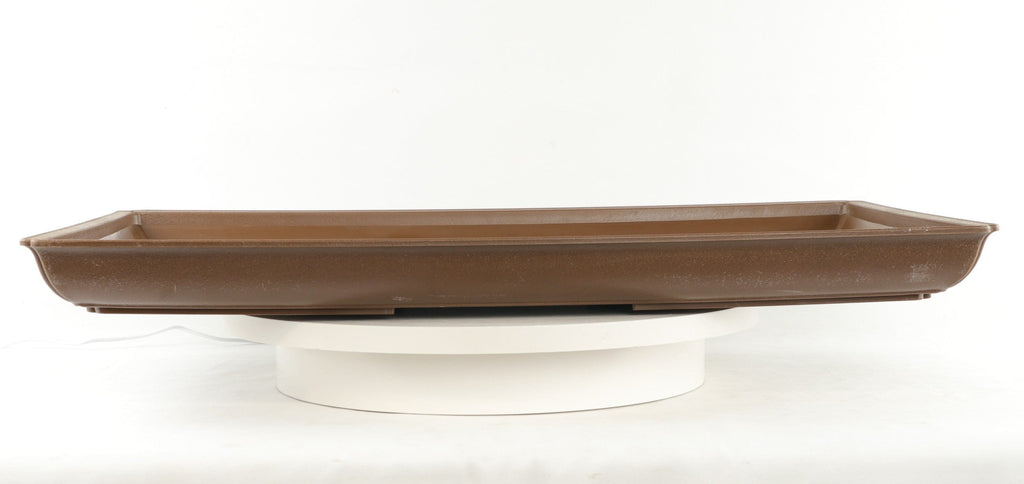 "Brown Large Rectangle Tray High Impact Polystyrene Plastic Bonsai Pot - 25"" x 15"" x 2"" Deep"