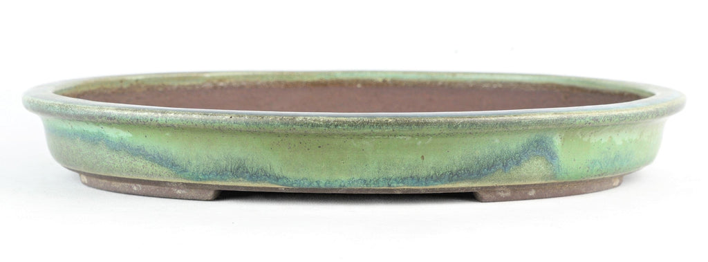 "Tokoname Yamaaki Green and Blue Glazed Oval Bonsai Pot - 13.5"" x 11"" x 1.75"""