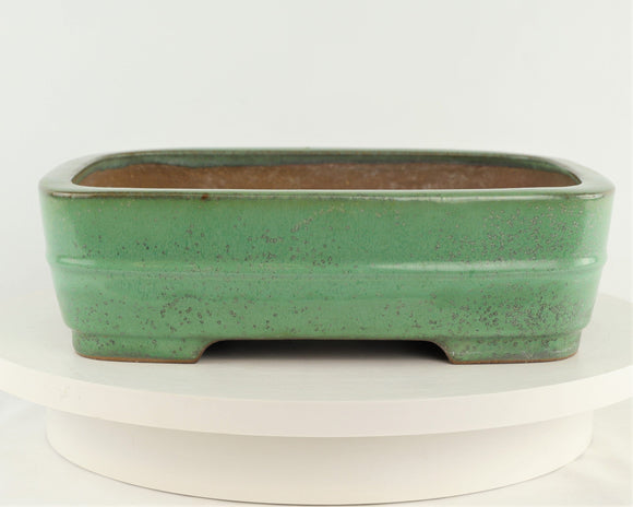 Tokoname Yamafusa Green Glazed Rounded Rectangle Bonsai Pot - 12.25