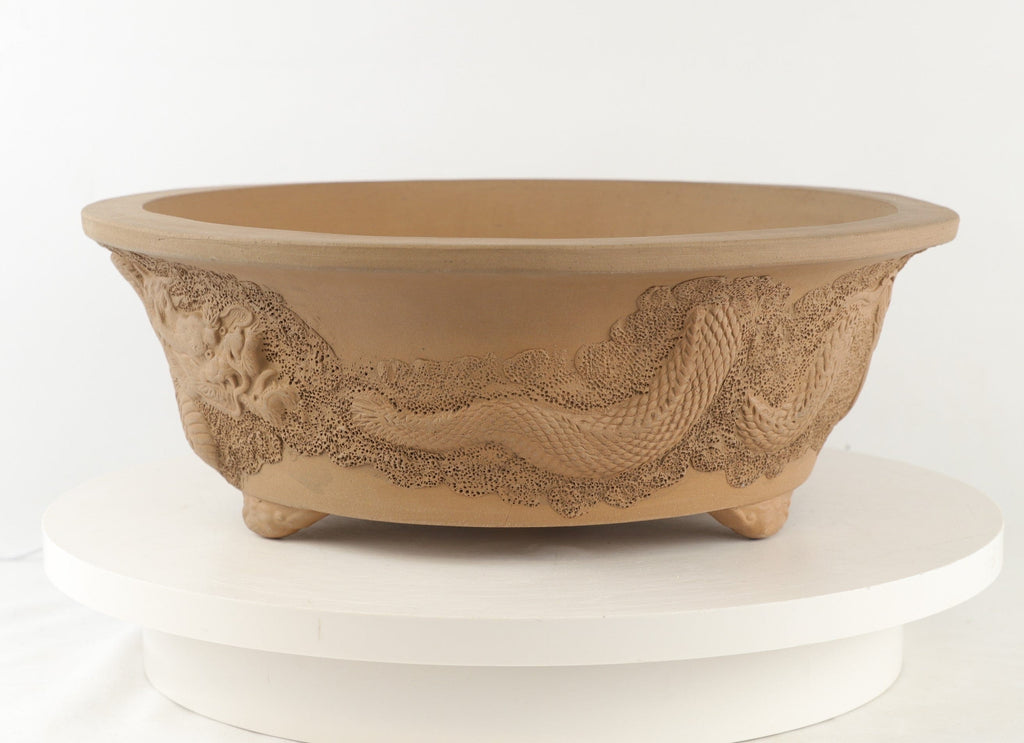 "Tokoname Mr. Matsushita Masuo Unglazed Brown Round Bonsai Pot - 14"" x 5"""