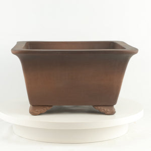 "Tokoname Mr. Matsushita Masuo Unglazed Brown Square Bonsai Pot - 12"" x 6.75"""