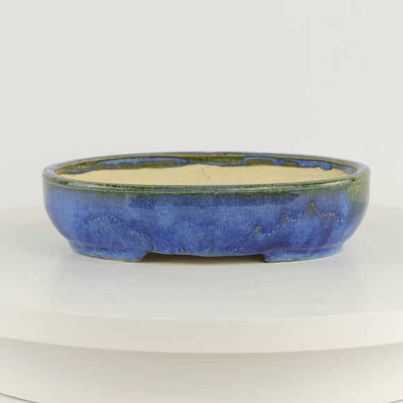 Roy Minarai Glazed Blue Oval Bonsai Pot - 7.75