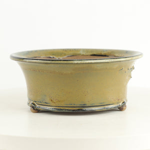 "Brian Soldano Olive Green Glazed Round Bonsai Pot - 7"" x 3"""