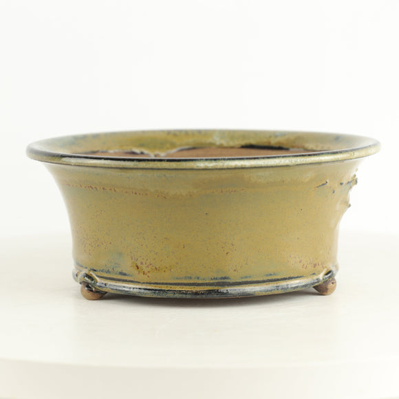 Brian Soldano Olive Green Glazed Round Bonsai Pot - 7