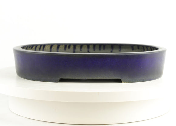 Japanese Tokoname Kouyou Aiba Kouichirou Blue Glazed Oval Bonsai Pot Bonsai Pot - 11.75