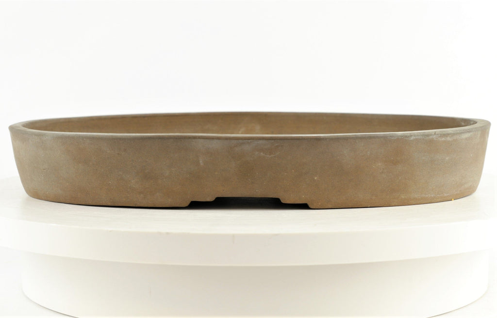 "Antique Japanese Tokoname Kinka Shousen Yamaaki Unglazed Oval Bonsai Pot - 12.75"" x 10"" x 1.75"""