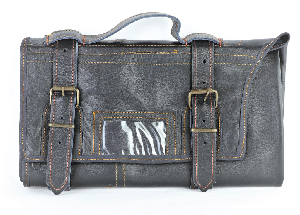 Black with Gold Stitching The Kiku Pro 13 Leather Bonsai Tool Roll Case- 11 Pockets + 2 Zipper - Leather